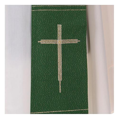 Étole en viscose polyester lurex avec croix brodée à la machine 2