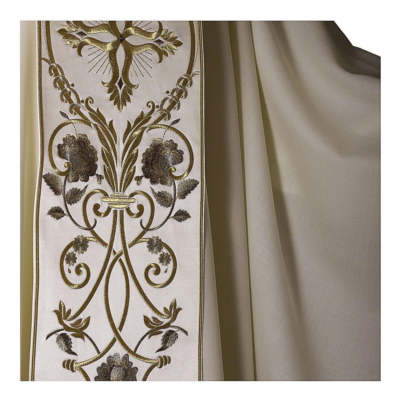 Casula color oro in pura lana ricamata direttamente sullo stolone 4