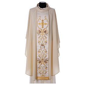 Casula color oro in pura lana ricamata direttamente sullo stolone s1