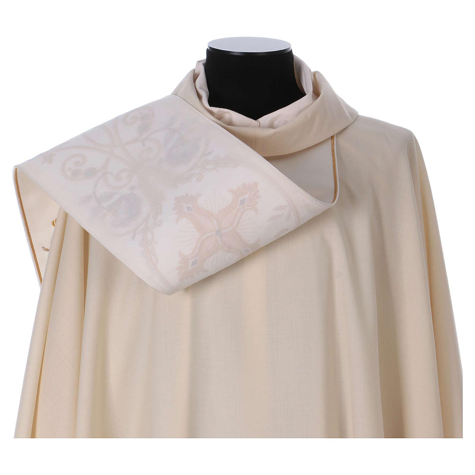 Casula Dourada Pura Lã Estolão Bordado  4