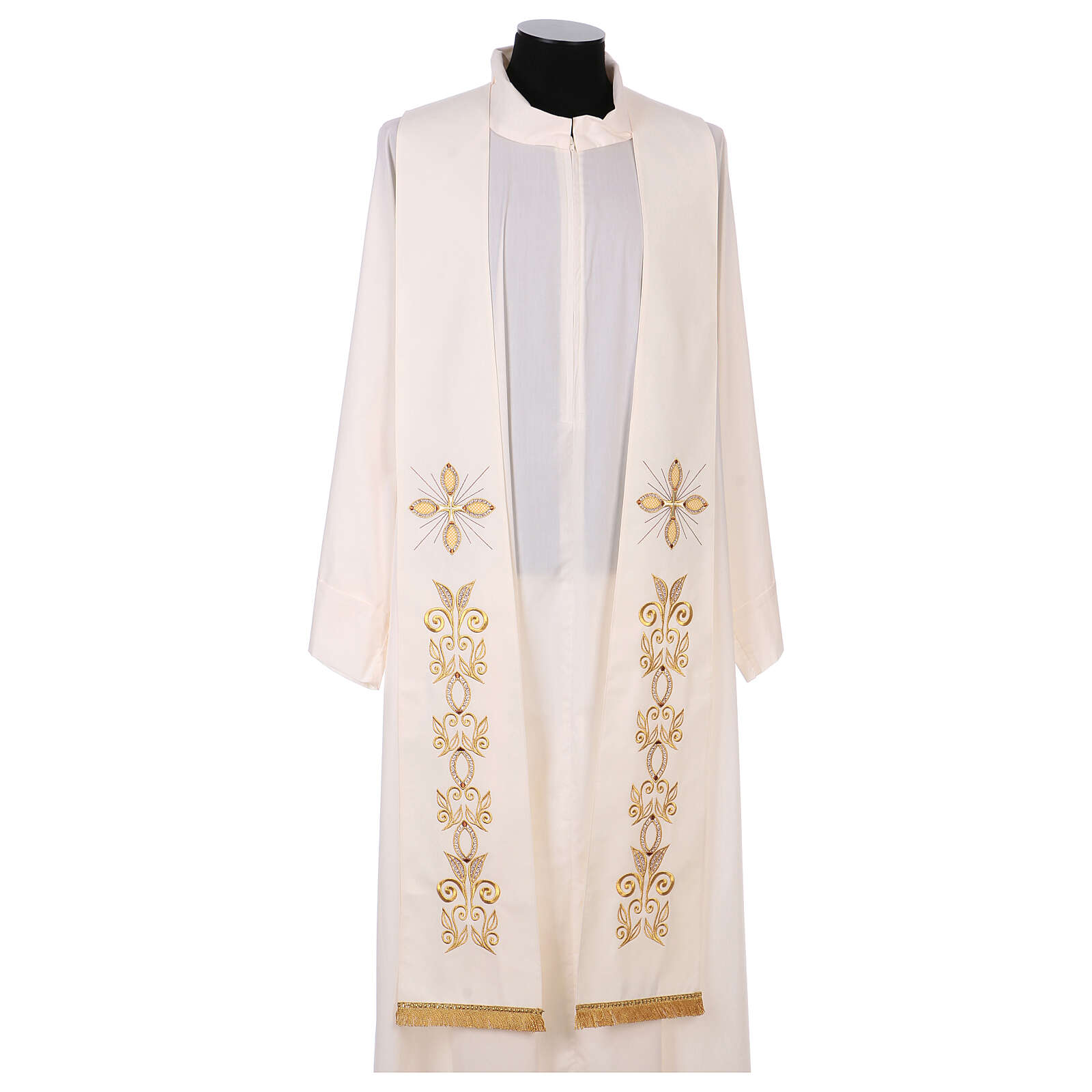 Stole 100% polyester machine embroidered with cross and golden decorations 4
