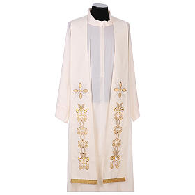 Stole 100% polyester machine embroidered with cross and golden decorations s1