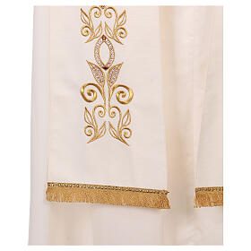 Stole 100% polyester machine embroidered with cross and golden decorations s3