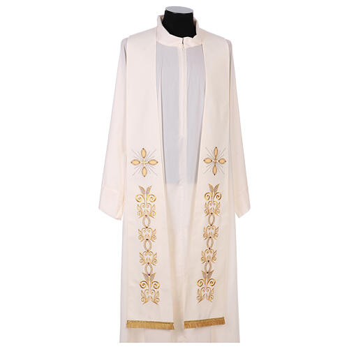 Stole 100% polyester machine embroidered with cross and golden decorations 1