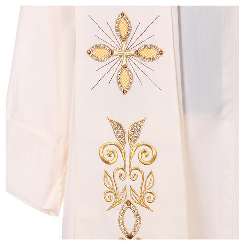 Stole 100% polyester machine embroidered with cross and golden decorations 2