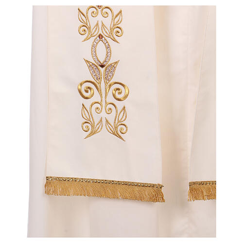 Stole 100% polyester machine embroidered with cross and golden decorations 3