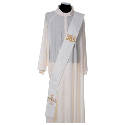Diaconal stole with in polyester, ivory 1