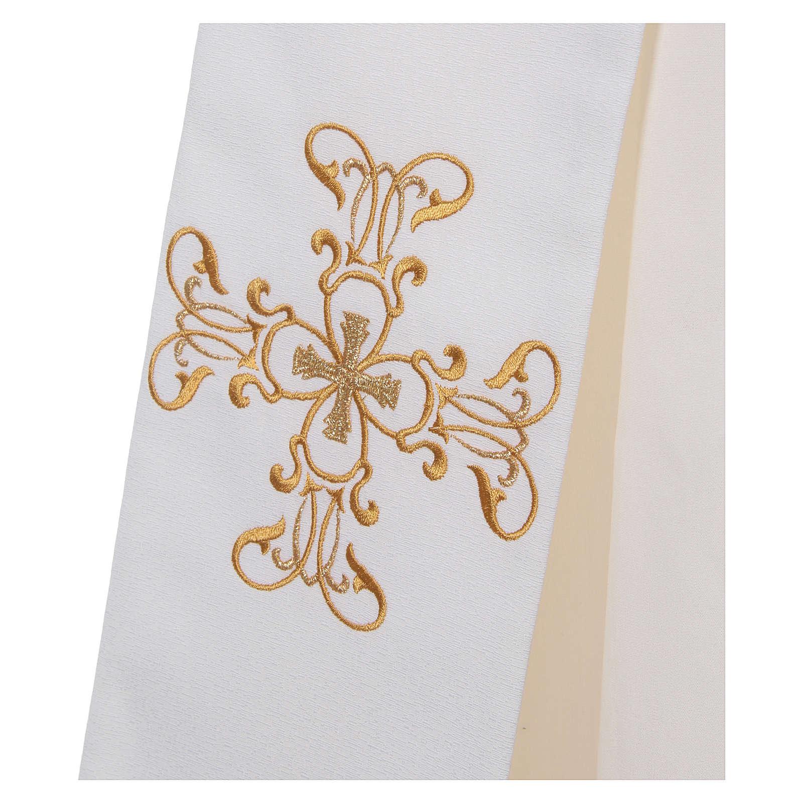 Étole diaconale polyester couleur ivoire 4