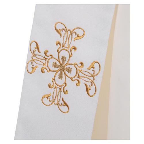 Étole diaconale polyester couleur ivoire 3