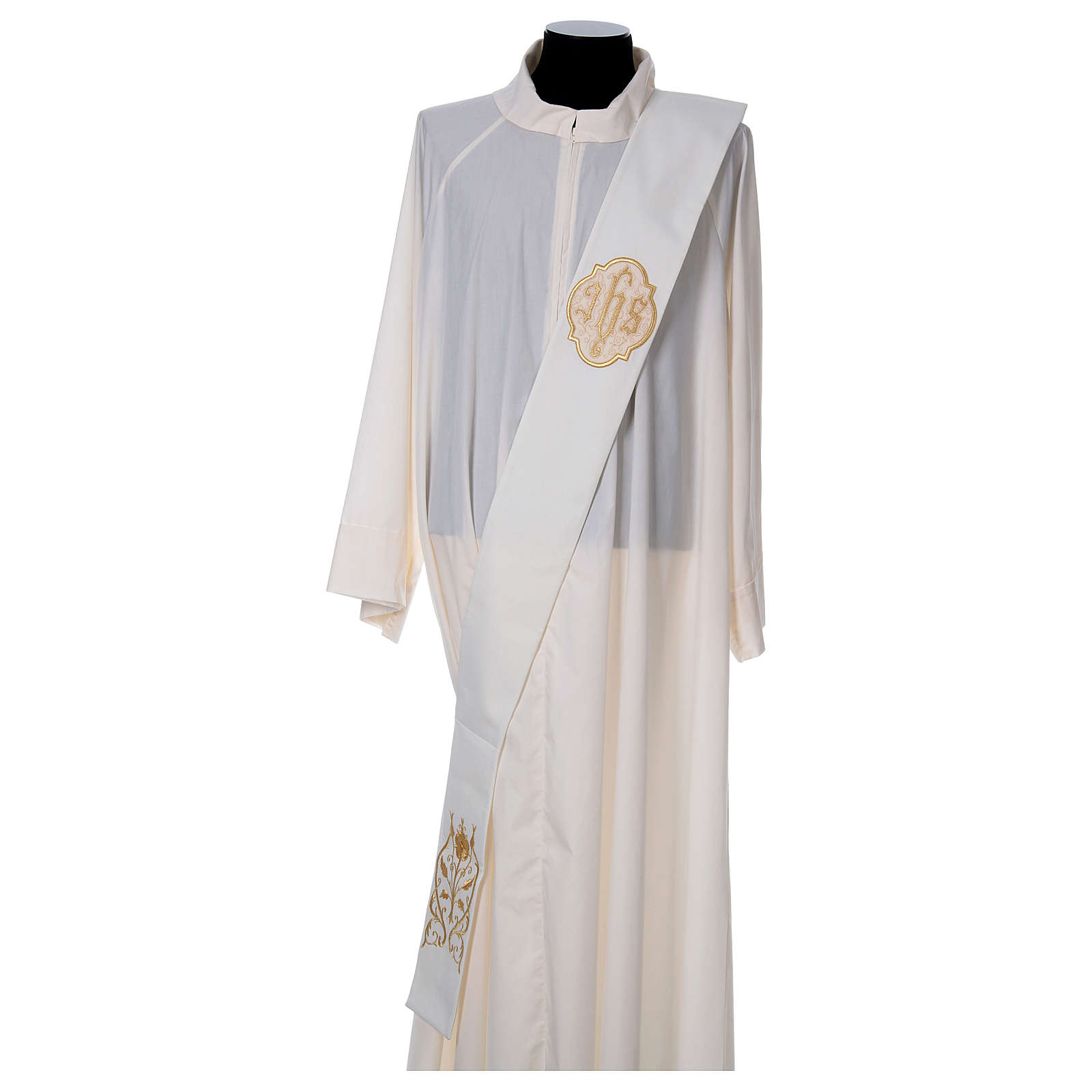 Diaconal stole with IHS symbol in polyester, ivory 4