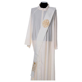 Diaconal stole with IHS symbol in polyester, ivory s1