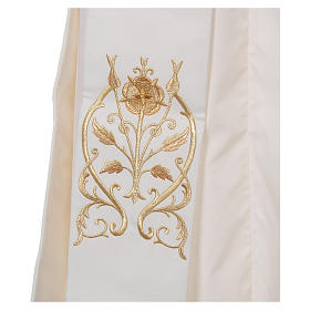 Diaconal stole with IHS symbol in polyester, ivory s3