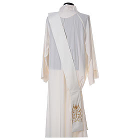 Diaconal stole with IHS symbol in polyester, ivory s4