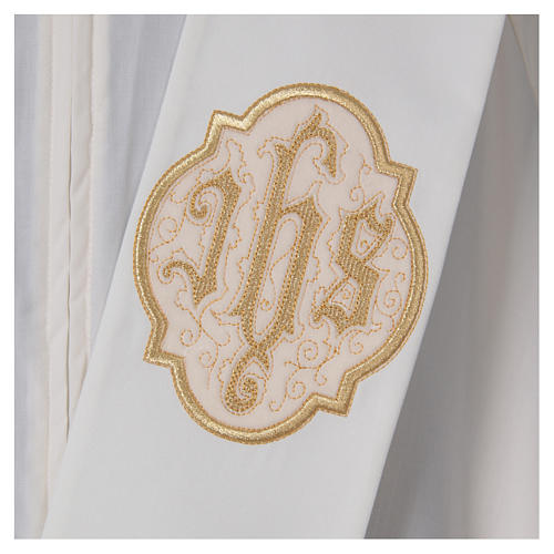 Diaconal stole with IHS symbol in polyester, ivory 2