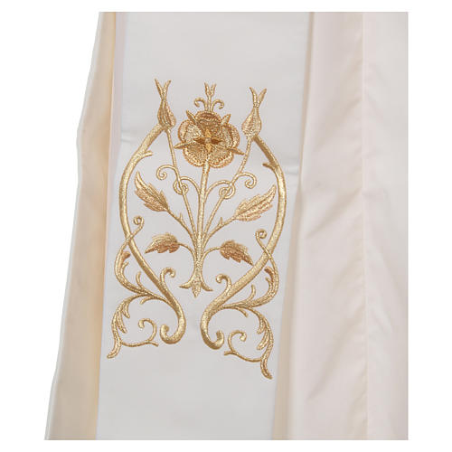 Diaconal stole with IHS symbol in polyester, ivory 3