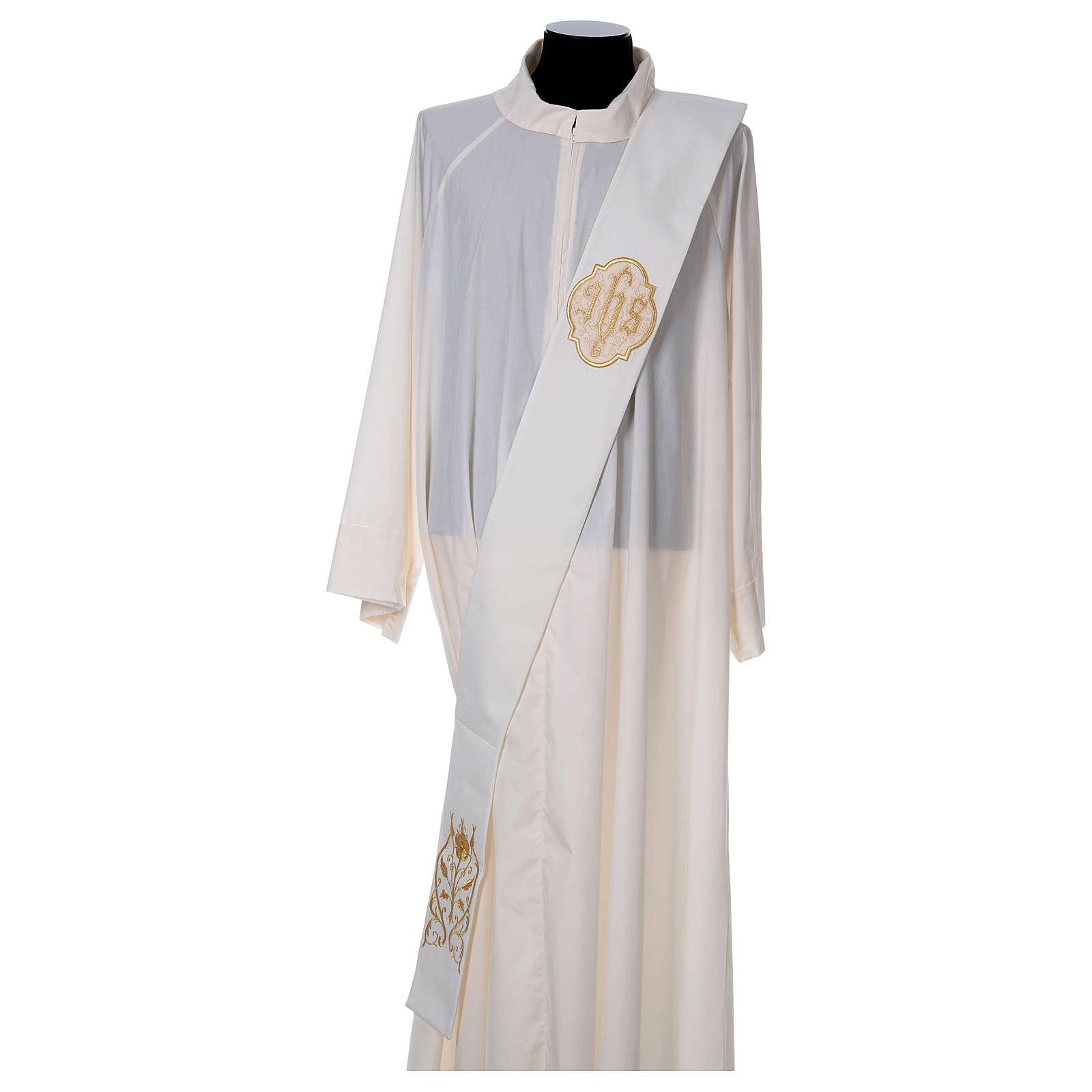 Étole diaconale avec IHS polyester ivoire 4