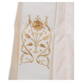 Étole diaconale avec IHS polyester ivoire s3