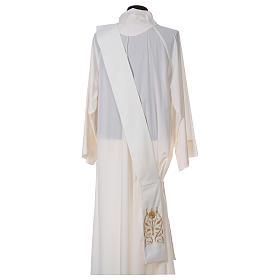 Étole diaconale avec IHS polyester ivoire s4