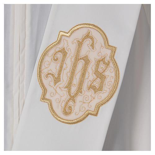 Étole diaconale avec IHS polyester ivoire 2