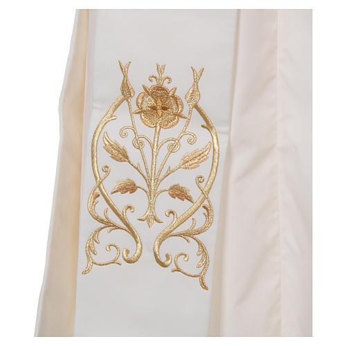 Étole diaconale avec IHS polyester ivoire 3