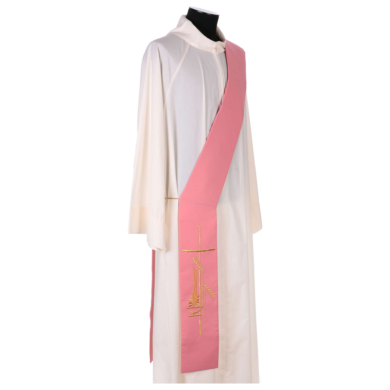 Estola diaconal rosa 100% poliéster lámpara cruz 4