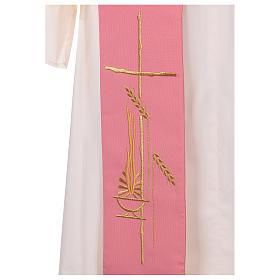 Estola diaconal rosa 100% poliéster lámpara cruz s2