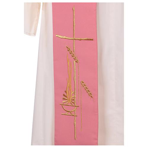 Estola diaconal rosa 100% poliéster lámpara cruz 2