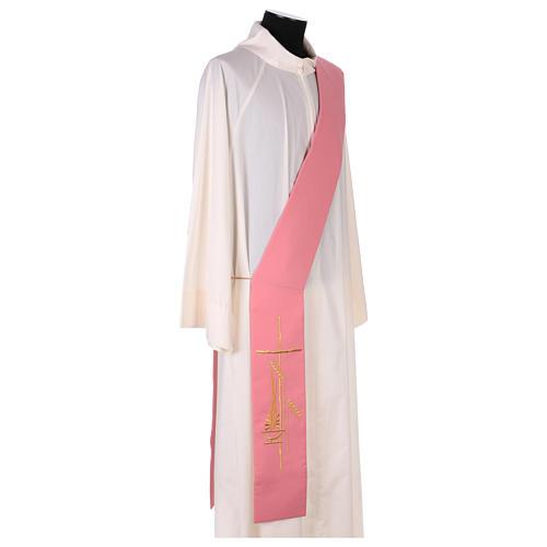 Estola diaconal rosa 100% poliéster lámpara cruz 3