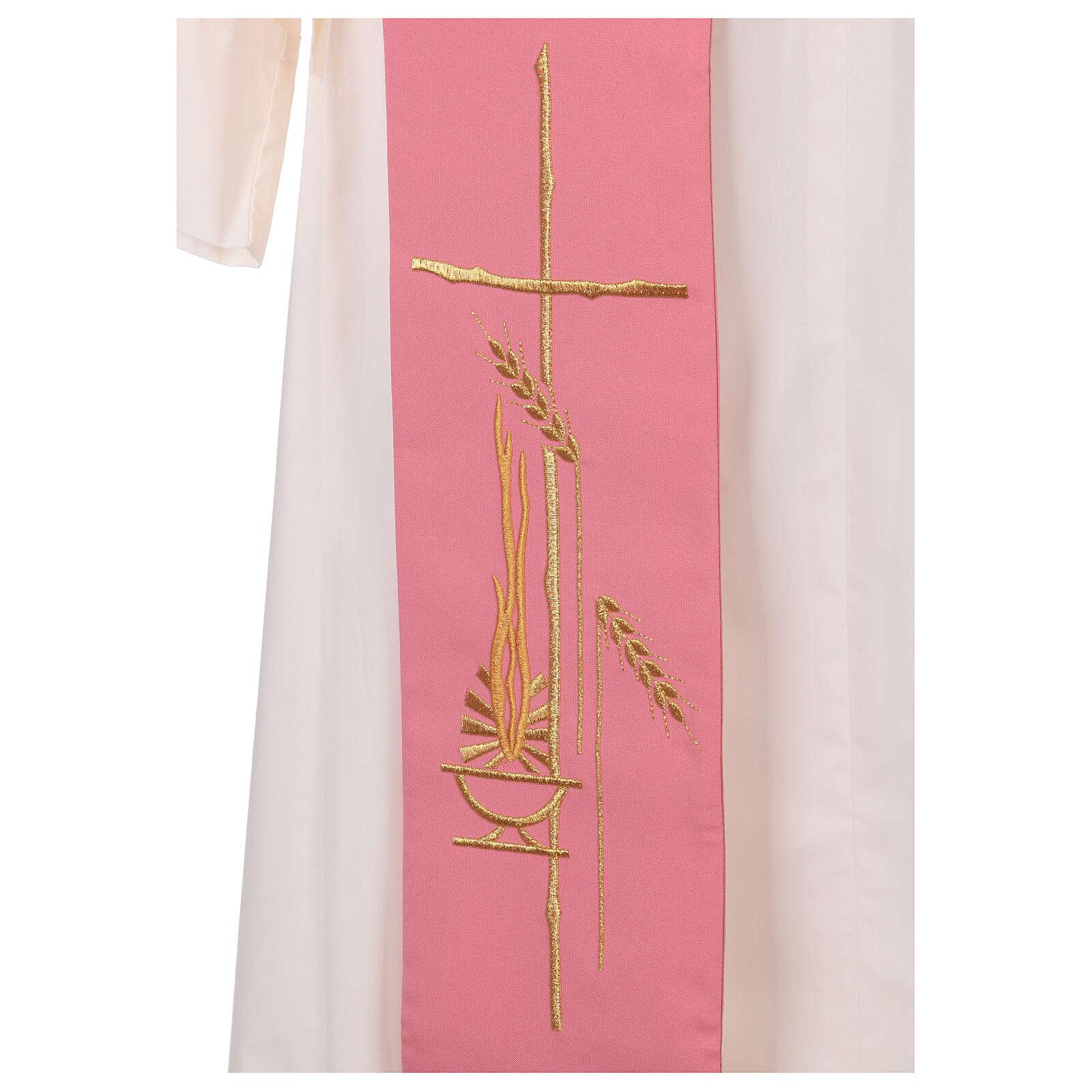 Estola diaconal cor-de-rosa 100% poliéster lâmpada cruz 4