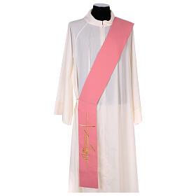 Estola diaconal cor-de-rosa 100% poliéster lâmpada cruz s1