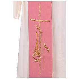 Estola diaconal cor-de-rosa 100% poliéster lâmpada cruz s2