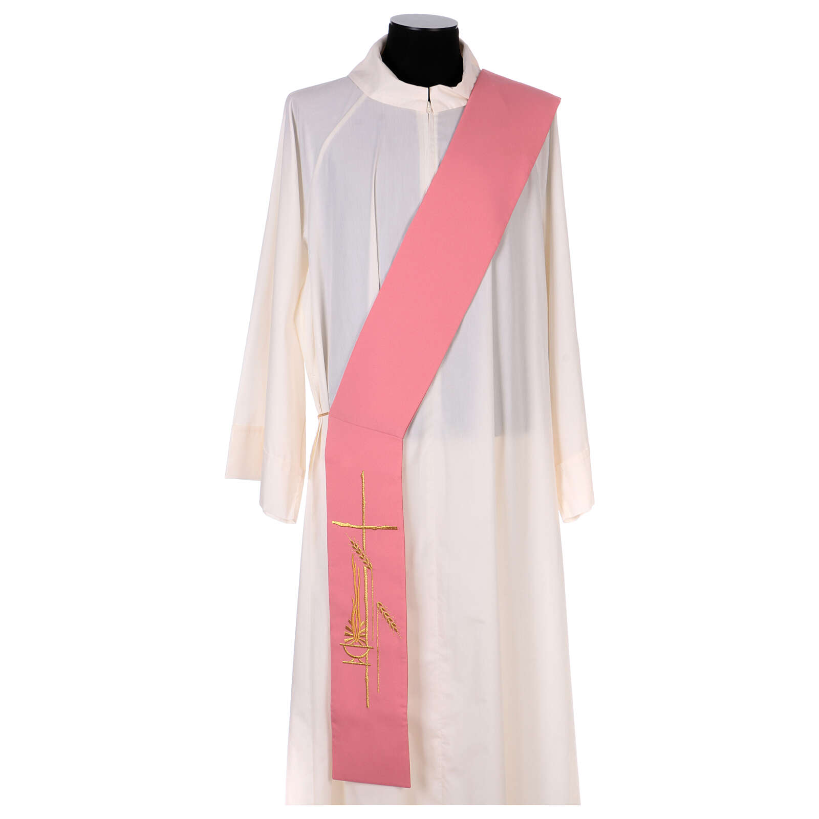 Deacon stole in pink 100% polyester lamp cross 4
