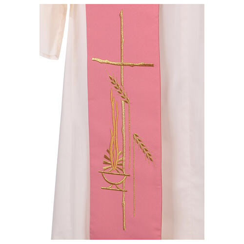 Deacon stole in pink 100% polyester lamp cross 2