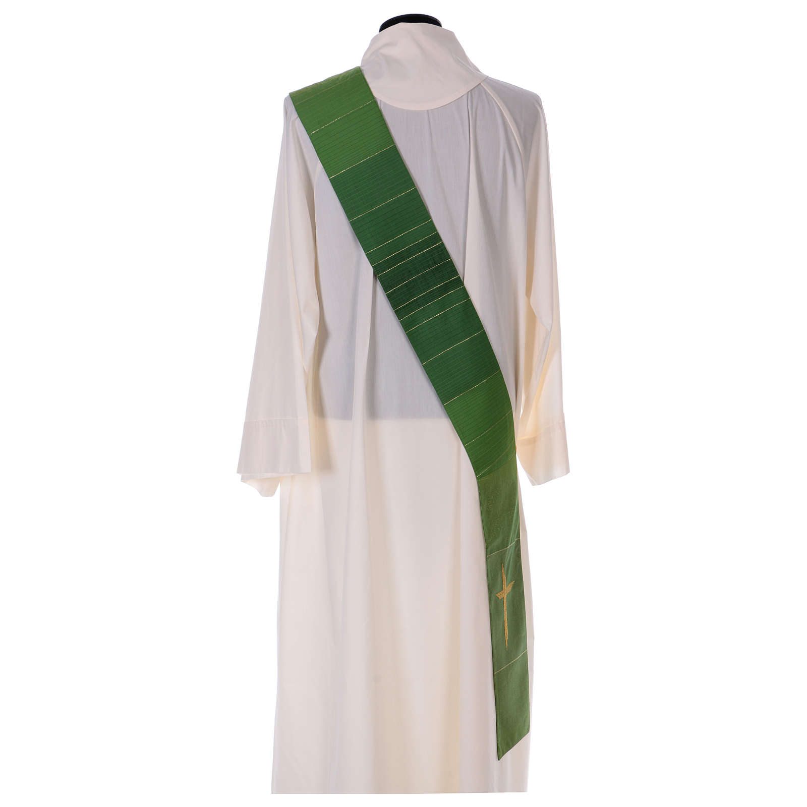 Étole diaconale 85% laine 15% lurex croix dorée 4