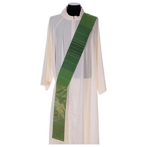 Étole diaconale 85% laine 15% lurex croix dorée 1