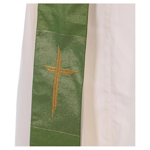 Étole diaconale 85% laine 15% lurex croix dorée 2