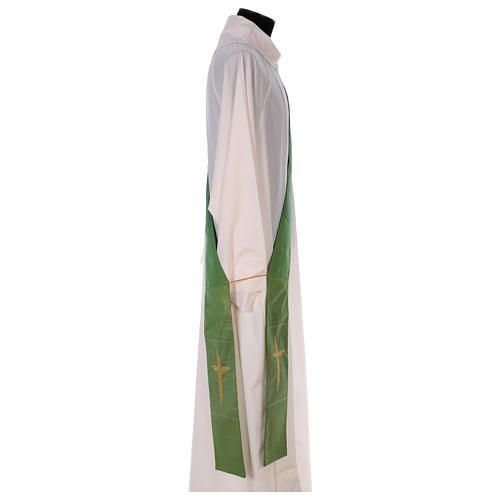 Étole diaconale 85% laine 15% lurex croix dorée 3