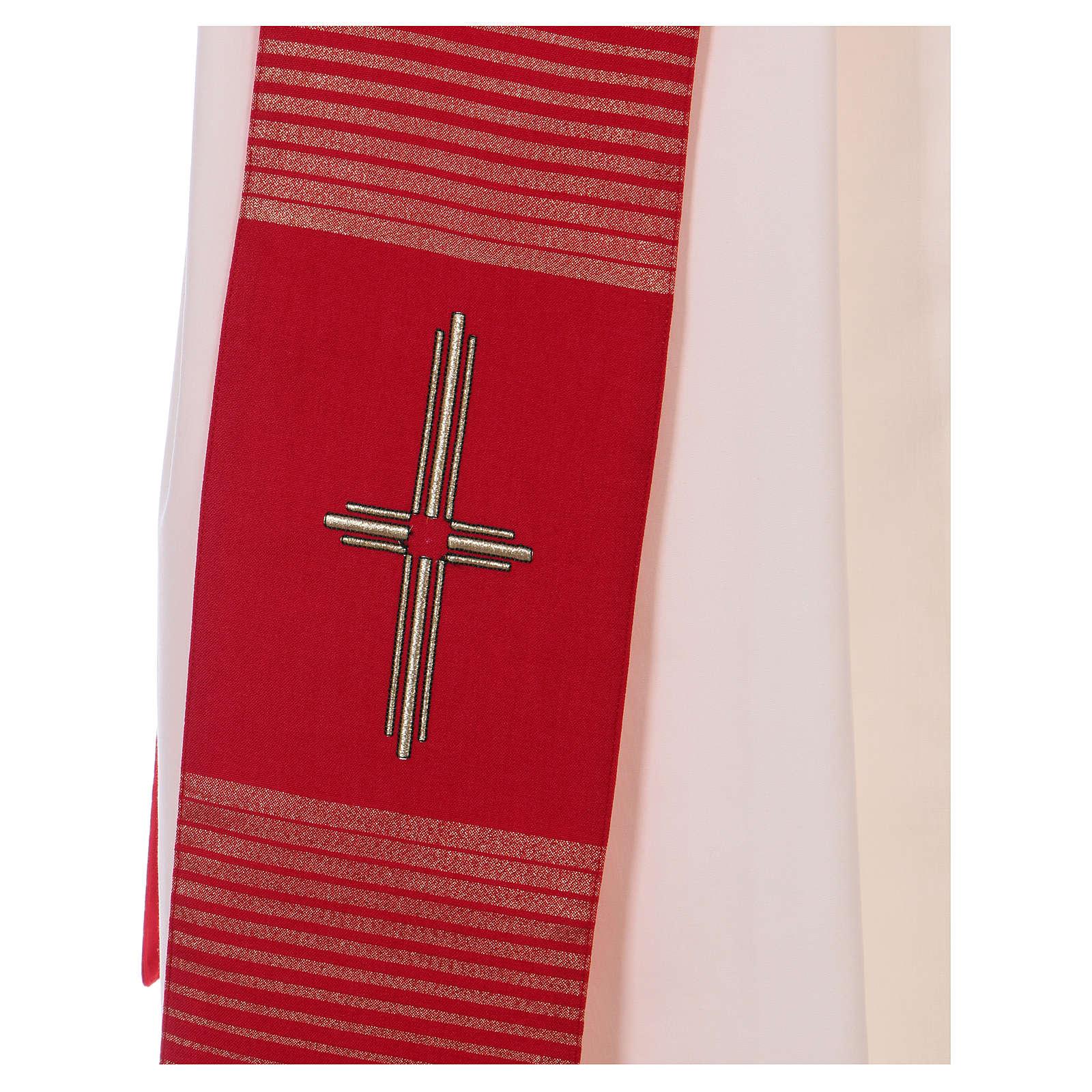 Étole 58% laine 32% soie 10% lurex avec croix dorée 4