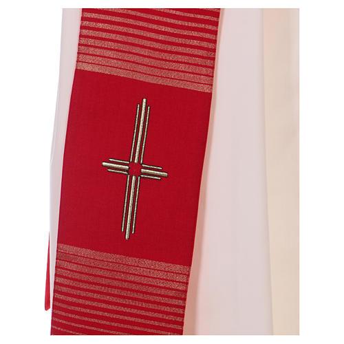 Étole 58% laine 32% soie 10% lurex avec croix dorée 2