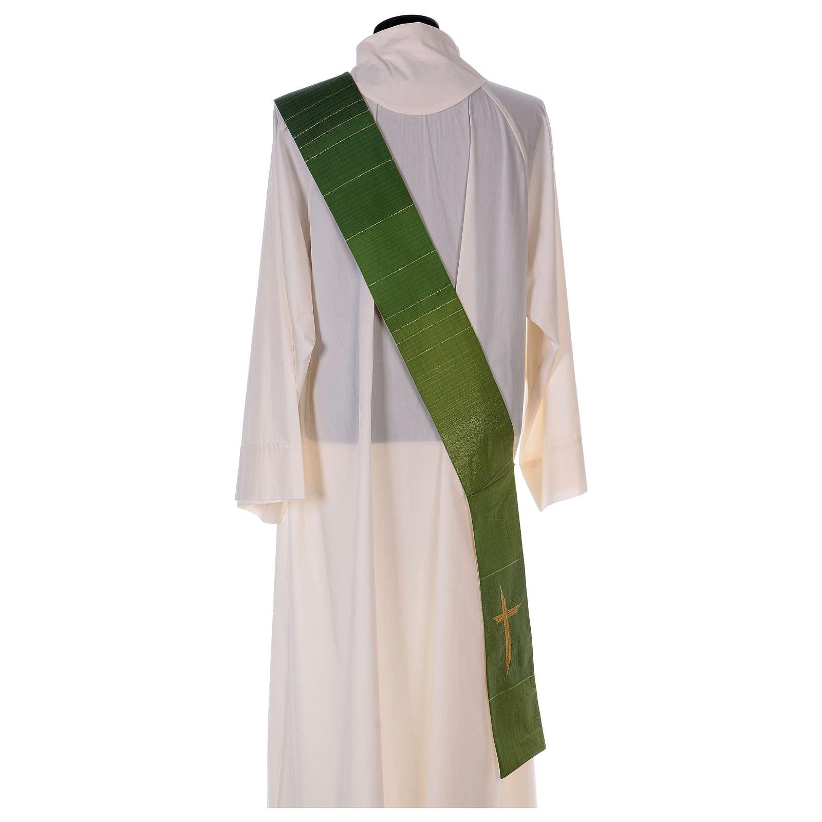 Zweifarbige Diakonstola Wolle und Lurex mit Kreuz 4