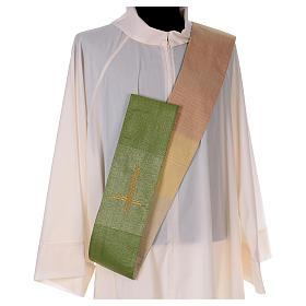 Zweifarbige Diakonstola Wolle und Lurex mit Kreuz s5