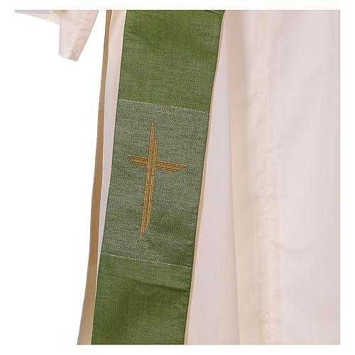 Zweifarbige Diakonstola Wolle und Lurex mit Kreuz 3