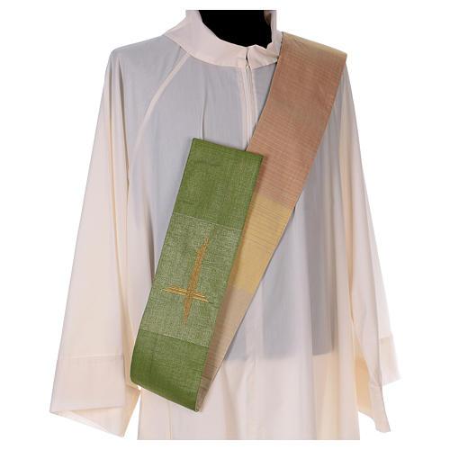 Zweifarbige Diakonstola Wolle und Lurex mit Kreuz 5