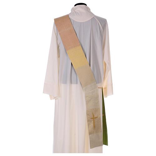 Zweifarbige Diakonstola Wolle und Lurex mit Kreuz 8