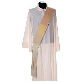 Étole réversible 85% laine 15% lurex avec croix s2