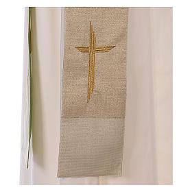 Étole réversible 85% laine 15% lurex avec croix s4