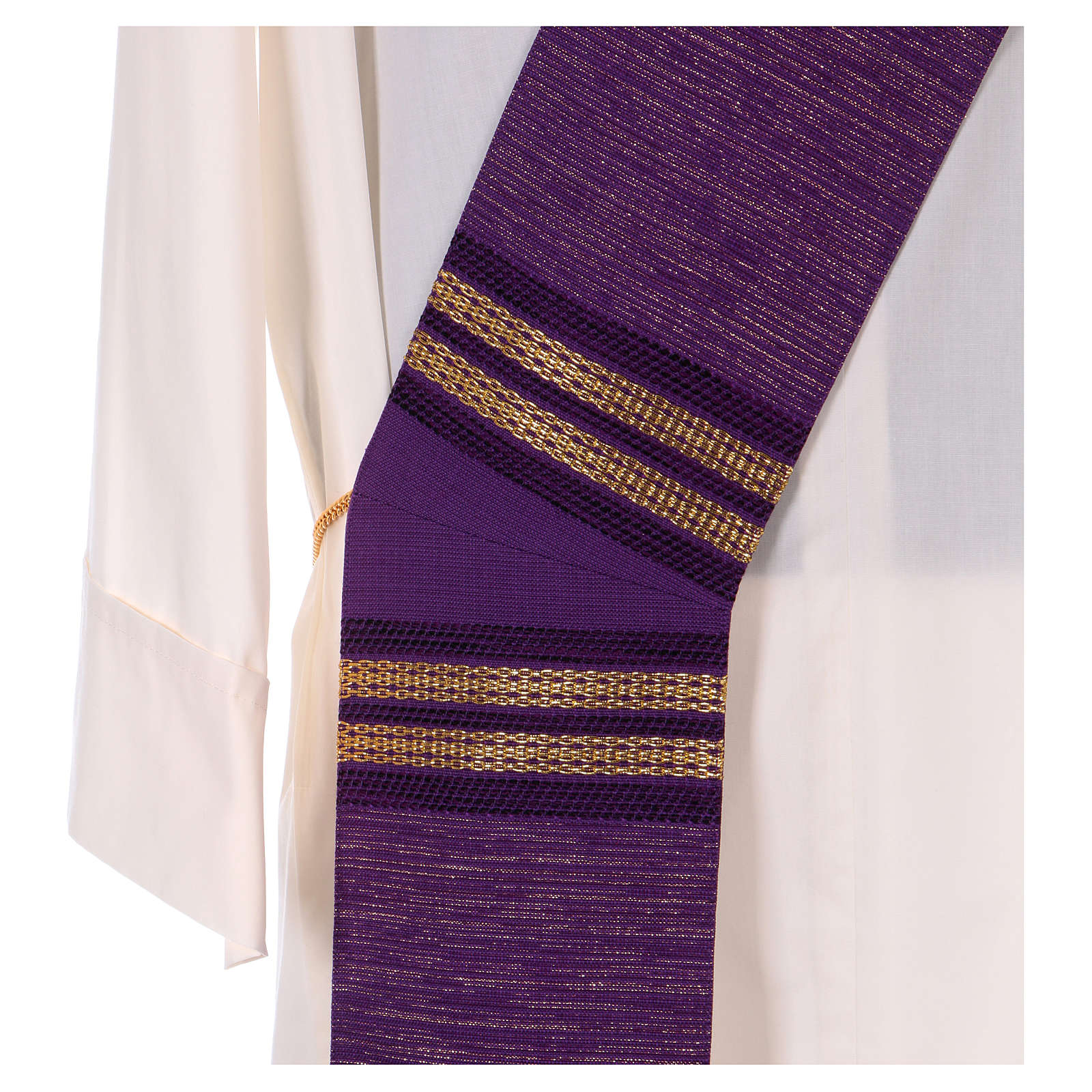 Étole diacolane 64% laine 26% acrylique 10% lurex chaînes dorées 4
