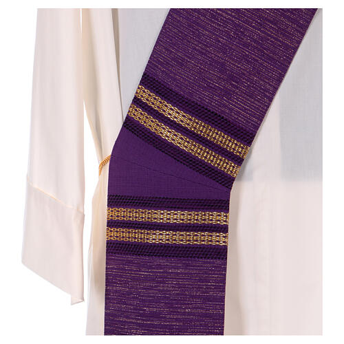 Deacon stole with golden chain detailing 64% wool 26% acrylic 10% lurex 2