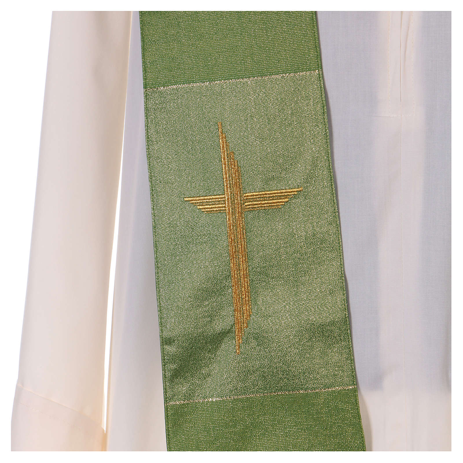 Étole 85% laine 15% lurex avec croix dorée 4