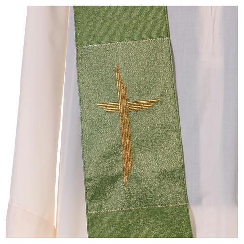 Étole 85% laine 15% lurex avec croix dorée 2
